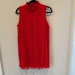 ASOS red pleated sleeveless dress